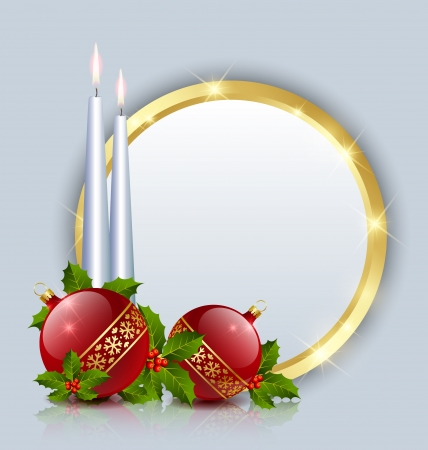 Candles and balls decoration with golden plaque Vector