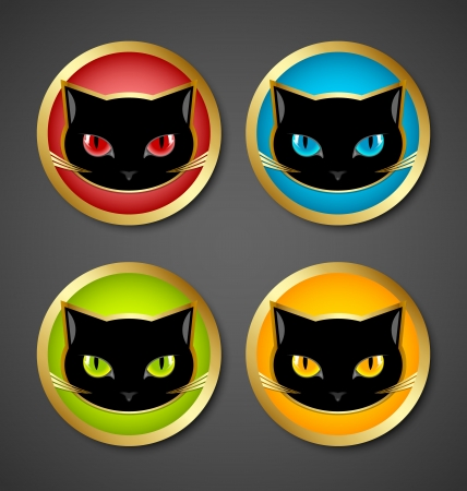 gato negro: Oro y negro iconos gato de cabeza aisladas sobre fondo gris oscuro