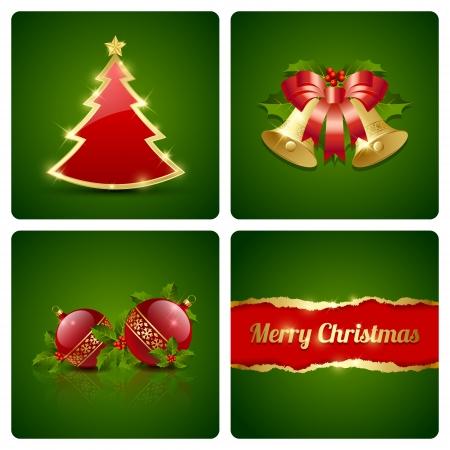 Original Christmas card made of four decorative elements