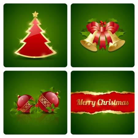 Originele Kerstkaart gemaakt van vier decoratieve elementen