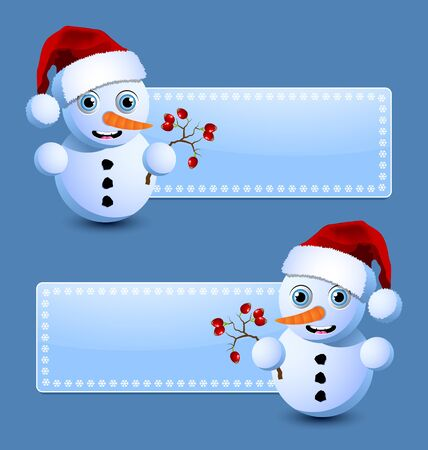 Cute little snowman banners isolated on blue background Vector