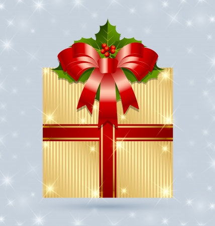 Christmas gift with ribbon and holly wrapped in golden foil Vector