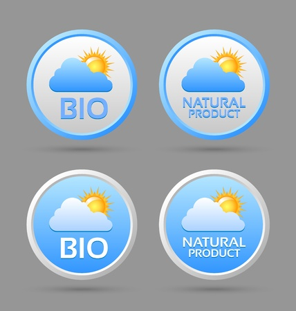 Bio and natural product badge icons isolated on grey background Vector