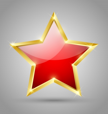 famous star: Red glossy golden star isolated on grey background