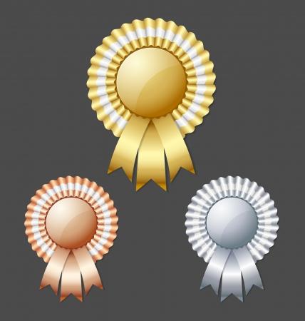 award ribbon rosette: Golden silver and bronze metallic rosettes isolated on dark grey background