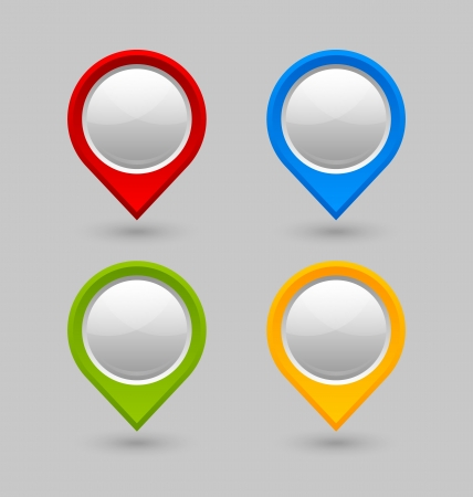 Set of map mark pointers isolated on grey background Illustration