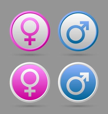 Venus and Mars female and male symbol badges isolated on grey background Illustration