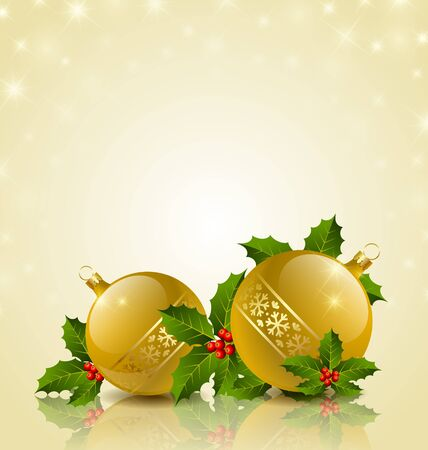 Christmas balls with holly on starry golden background Vector