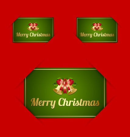 Merry Christmas paper cards inserted into another piece of paper Stock Vector - 15836004