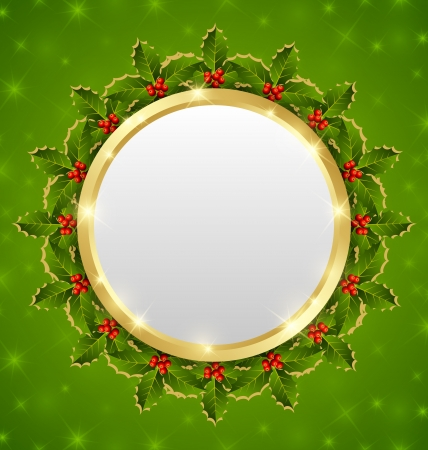 Christmas plaque with holly wreath on starry background Vector
