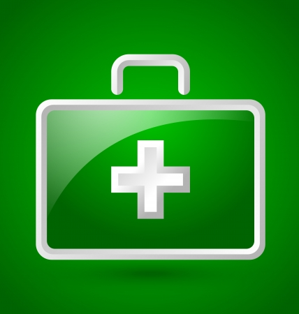 rescue signs: Simple glossy first aid kit icon isolated on green background