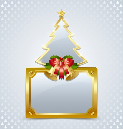 Christmas tree with bells and glossy plaque isolated on background Vector