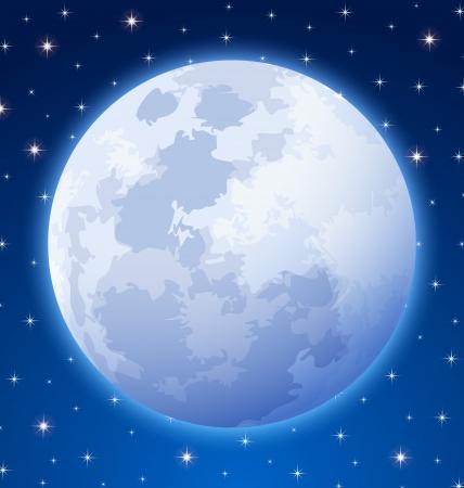 Volle maan op sterrenhemel nachtelijke hemel achtergrond Stock Illustratie