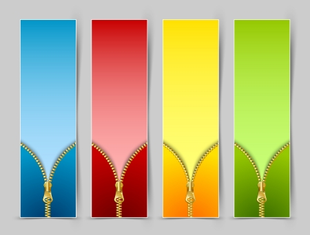 Zipper banners isolated on grey background Stock Vector - 15998670