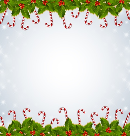 peppermint: Holly and candy canes traditional Christmas decoration on starry background