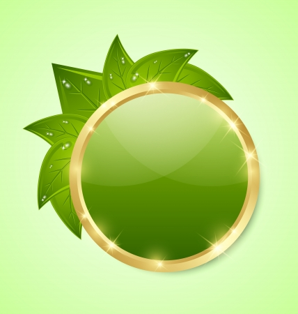 environmental conversation: Golden and green glossy plaque with leaves isolated on background