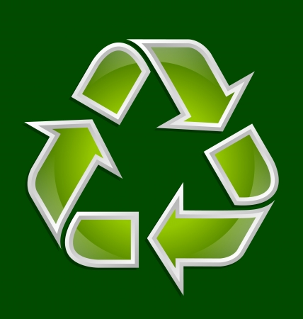 Green and glossy recycled symbol icon isolated on dark green background Vector