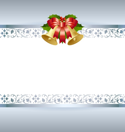 Stylized silver Christmas card template with golden decoration