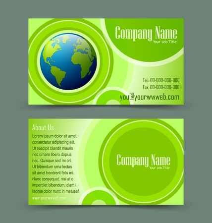 operative: Front and back side of globe theme business card isolated on greenish background