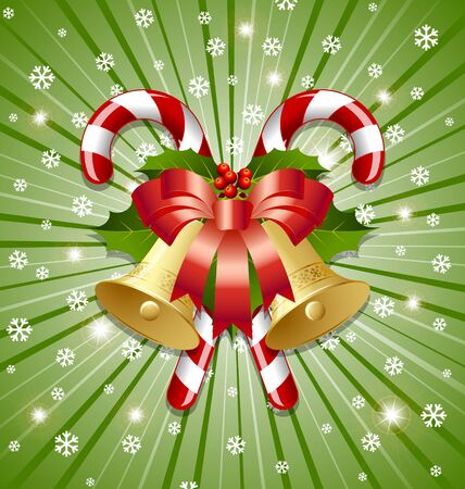 spearmint: Candy canes decorated with bells, holly and ribbon on snowy background