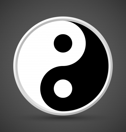 taijitu: Yin Yang symbol icon isolated on dark grey background