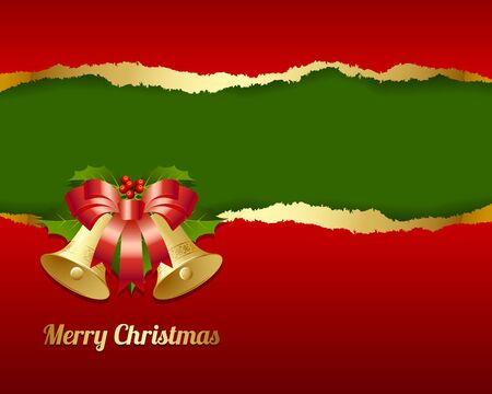 Ripped Merry Christmas card made of torn paper with decoration Stock Vector - 16255301