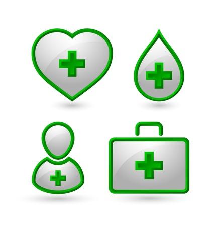 transfuse: Set of medical icons isolated on white background Illustration