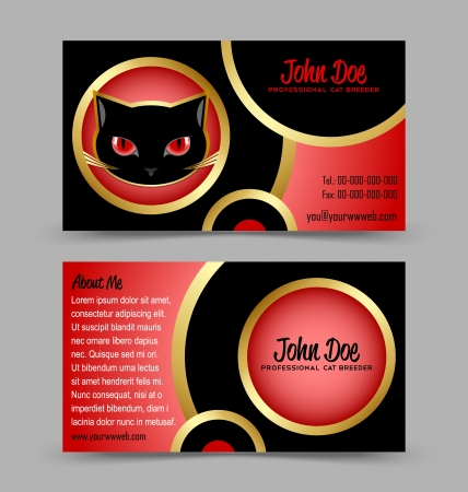 Front and back side of cat head theme business card isolated on grey background Vector