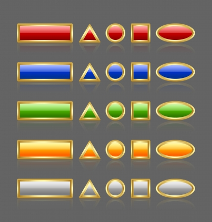 command button: Various shapes of golden and glossy buttons isolated on grey background