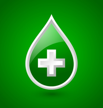 Green blood medical icon isolated on green background Vector