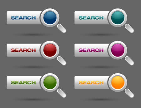 Set of search buttons isolated on grey background Vector