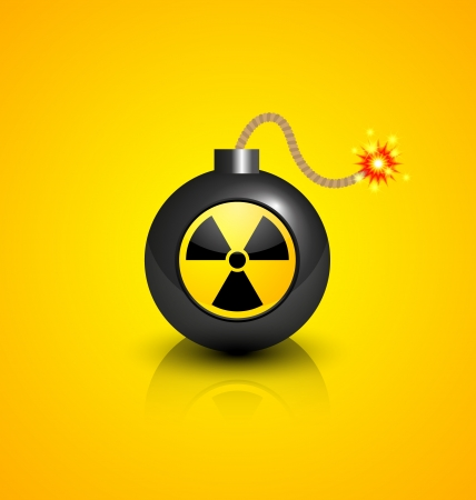 nuclear bomb: Black burning bomb with nuclear symbol isolated on yellow background Illustration