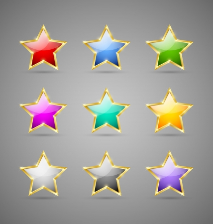 Set of glossy golden colorful stars isolated on grey background Vector