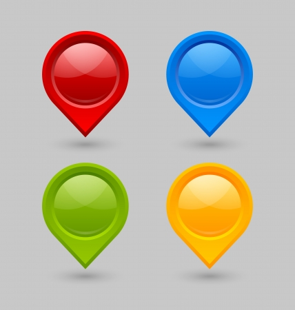 Set of map mark pointers isolated on grey background Illustration