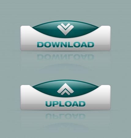 Glossy download and upload buttons useful for webdesign purposes Stock Vector - 16824699