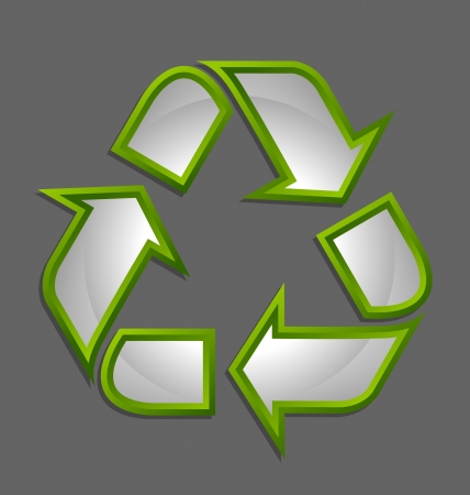 Green and glossy recycled symbol icon isolated on dark green background Stock Vector - 16824692