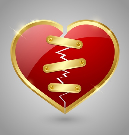 Broken and repaired heart icon isolated on grey background Vector