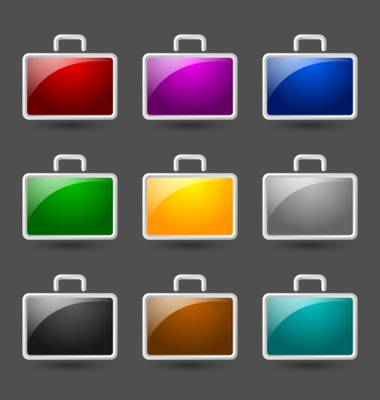 Simple colorful glossy suitcase icons isolated on dark grey background Vector