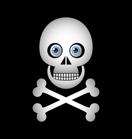 drapeau pirate: Icône de crâne et des os croisés isolé sur fond noir