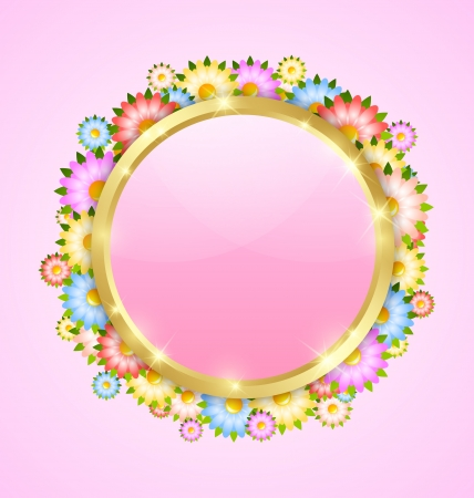 with space for text: Flower bubble template with copy space for your custom text