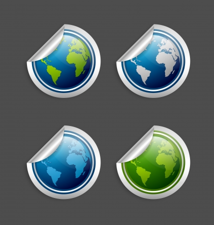Set of silver or platinum glossy planet Earth stickers isolated on background Stock Vector - 17186156