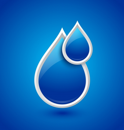 Blue glossy water drops icon isolated on background Vector