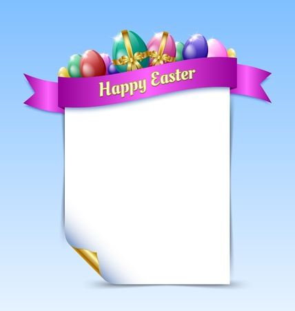 religious event: Curly paper Happy Easter document template with Easter eggs and ribbon isolated on background Illustration