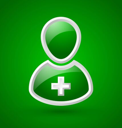 Glossy doctor or nurse icon with white cross isolated on green background Vector