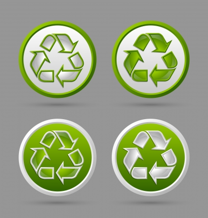 Set of recycled symbol badges isolated on grey background Stock Vector - 17222205
