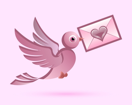 Homing postal pigeon with enveloped love letter Stock Vector - 17222199