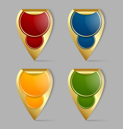 Set of golden map markers or stickers isolated on grey background Vector