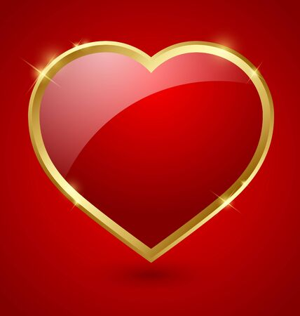 Glossy red and golden romantic heart Vector