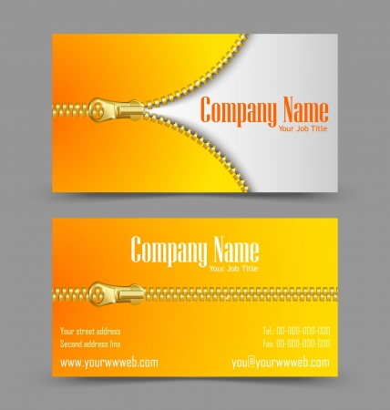 Front and back side of zipper theme business card isolated on grey background Stock Vector - 17314271