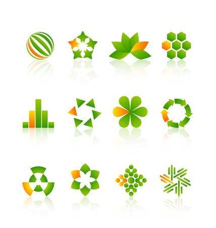 Green and yellow logo design elements with reflections Stock Vector - 17314275